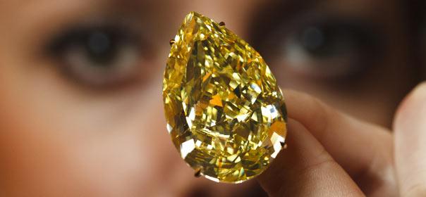 Le diamant jaune Sun-Drop a été découvert en 2010 en Afrique du Sud. © REUTERS.