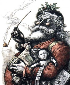 """Merry Old Santa Claus, du from Harper's Weekly, January 1, 1881, p.8-9, recolorié en rouge"