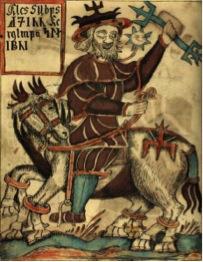 représentation du Dieu Odin et de son cheval à huit pattes