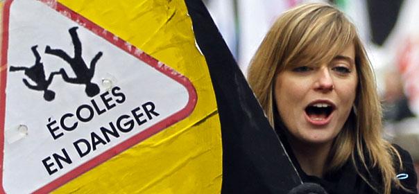 Lutte contre la réforme de l'évaluation ou contre les suppressions de postes... La plupart des syndicats d'enseignants avaient appelé à manifester ce mardi 31 janvier. ® REUTERS.