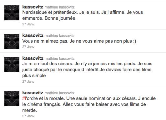 """Le """"pétage de plombs"""" de Mathieu Kassovitz sur son compte Twitter le 27 janvier 2012"""