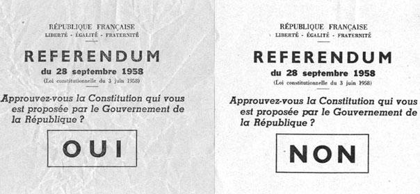 Ici, le référendum sur la Constitution, initié par Charles De Gaulle en 1958.