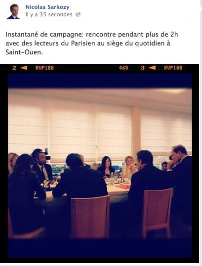 capture d'écran du compte Facebook officiel de Nicolas Sarkozy