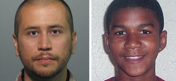 À gauche, Georges Zimmermann, inculpé le 11 avril 2012 pour le meurtre de l'adolescent Trayvon Martin, 17 ans, (à droite). © REUTERS