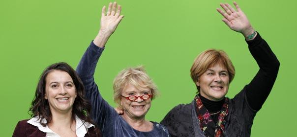 Cécile Duflot, Eva Joly et Dominique Voynet lors d'un meeting à Lyon, en 2010. © REUTERS