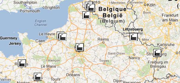 """Extrait de la carte """"Le tour de France des plans sociaux"""" réalisée par Quoi.info."""