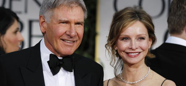 Harrison Ford et Calista Flockhart lors de la 69e cérémonie des Golden globes, à Beverly Hills, Californie, le 15 janvier 2012. © REUTERS