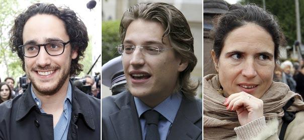 De gauche à droite: Le fils de François Hollande Thomas Hollande, le fils de Nicolas Sarkozy Jean Sarkozy, et la fille de François Mitterrand Mazarine Pingeot. Montage quoi.info d'après trois photos © REUTERS