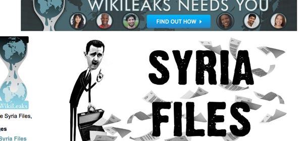 Le site de Julian Assange a divulgué des mails confidentiels embarrasants sur la Syrie, et sur d'autres pays officiellement opposés au régime de Bachar-al-Assad. Capture d'écran du site wikileaks.org