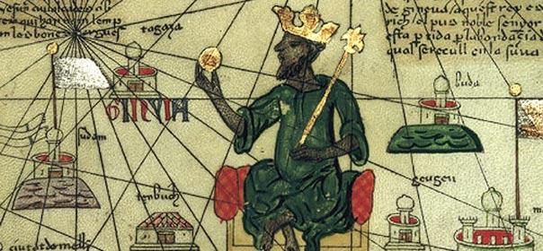Portrait de Mansa Moussa, empereur du Mali, sur une carte géographique de l'Europe et de l'Afrique du Nord, datée 1375. Mansa Moussa tient une pépite d'or dans sa main. Wikimedia Commons.