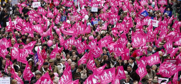 Manifestants contre le mariage pour tous, organisée le dimanche 13 janvier 2013 à Paris. ©REUTERS