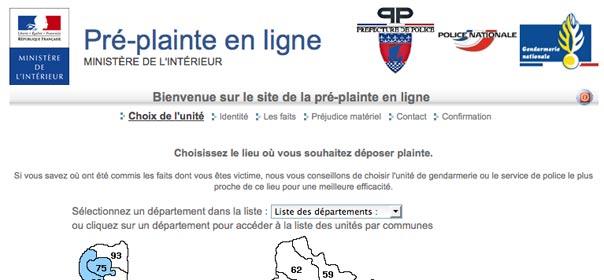 capture d'écran de la page d'accueil de pre-plainte-en-ligne.gouv.fr
