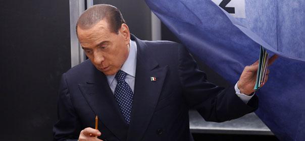 Silvio Berlusconi, lors des élections législatives des 25 et 26 février 2013 en Italie. ©REUTERS