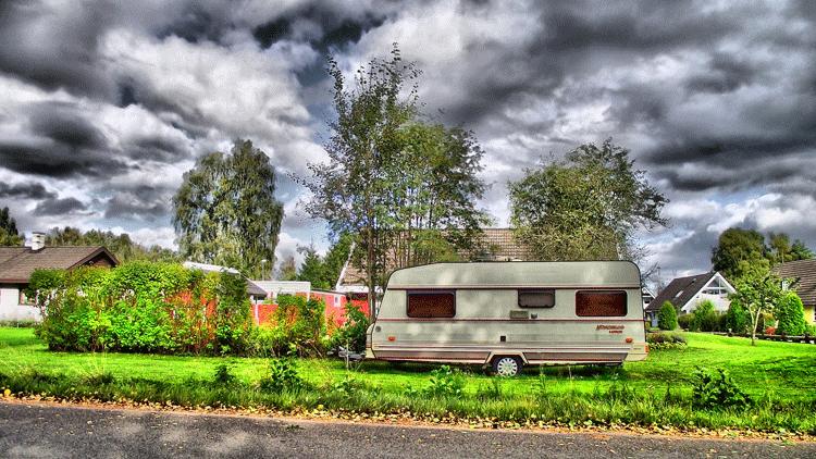 caravane, jardin