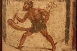 Priape, sur une fresque à Pompéi © Miguel Hermoso Cuesta, Wikimedia Commons
