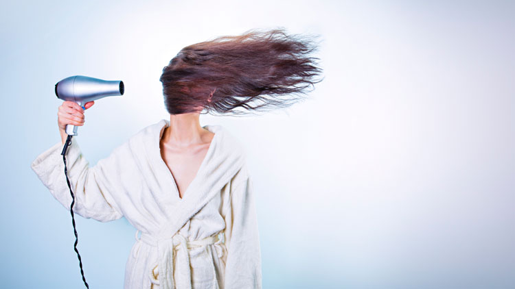 sèche-cheveux, cheveux
