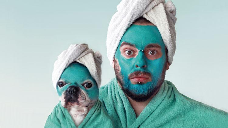 chien, maquillage, serviette, homme, soin de la peau