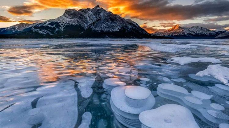 bulles, lac gelé, lac Abraham